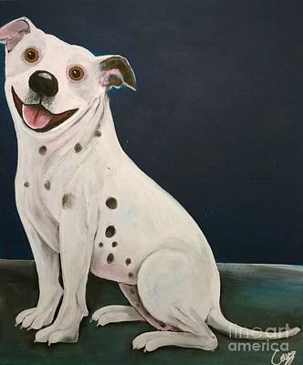 Dog Caricature Painting - Baz The Dog by Caroline Peacock