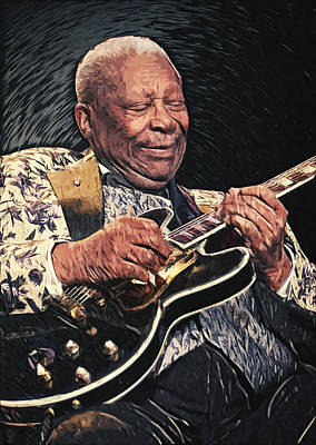 The King Digital Art - B.b. King II by Taylan Apukovska