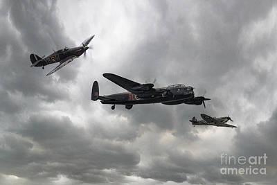 Caravaggio - BBMF Lancaster Spitfire Hurricane by Airpower Art