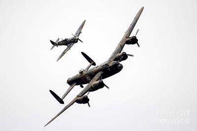 Spitfire Photograph - Bbmf Spitfire And Lancaster by J Biggadike