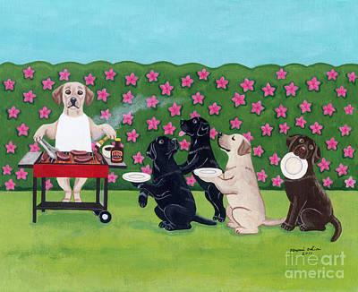 Chocolate Labrador Retriever Painting - Bbq Party Labradors In The Azalea Garden by Naomi Ochiai