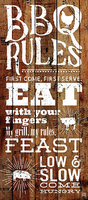 Word Art Painting - Bbq Rules by Aubree Perrenoud