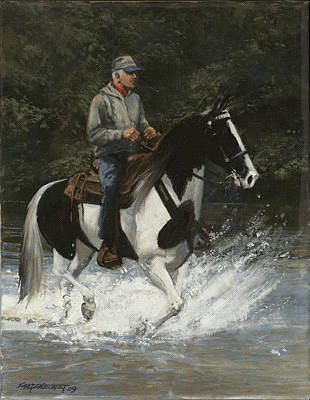 Girl Riding Horse Painting - Big Creek Man On Spotted Horse by Don  Langeneckert