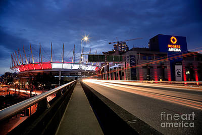 Vancouver At Night Photograph - Bc Place Stadium And Rogers Arena by Terry Elniski