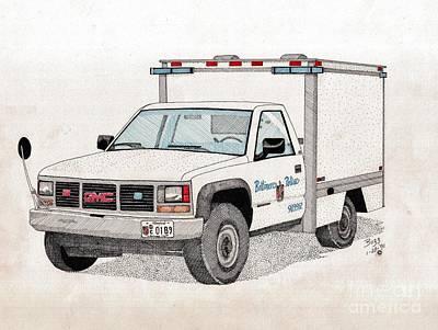 Baltimore City Drawing - Bcpd Cruising Patrol by Calvert Koerber