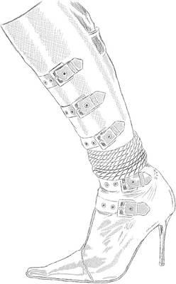 Bdsm Drawing - Bdsm Sm Bondage Boot Drawing by Michael Kuelbel