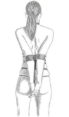 Bdsm Drawing - Bdsm Sm Bondage Drawing by Michael Kuelbel