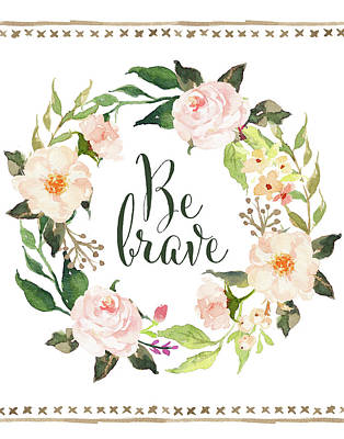 Succulents Painting - Be Brave Wreath by Tara Moss
