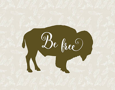 Bison Painting - Be Free by Tara Moss