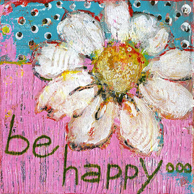 Pink Flower Painting - Be Happy Daisy Flower Painting by Blenda Studio