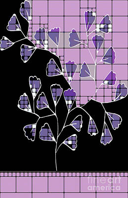 Hotel Digital Art - Be-leaf - Purple 03-a01cb by Variance Collections