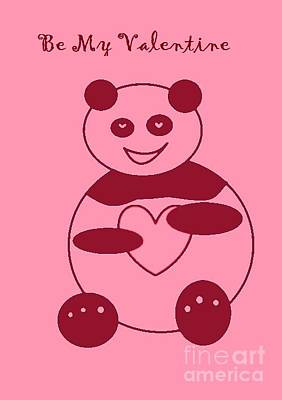 Digital Art - Be My Valentine Panda Girl by Ausra Huntington nee Paulauskaite