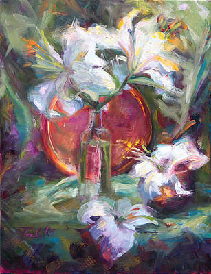 Painting - Be Still - Casablanca Lilies With Copper by Talya Johnson