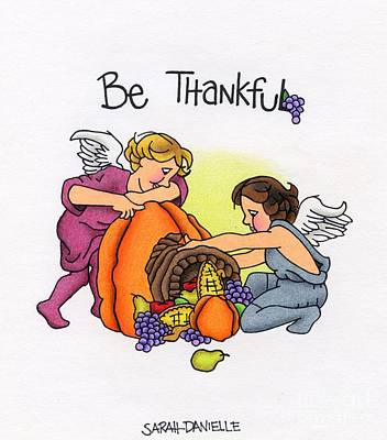 Cherub Wall Art - Drawing - Be Thankful by Sarah Batalka