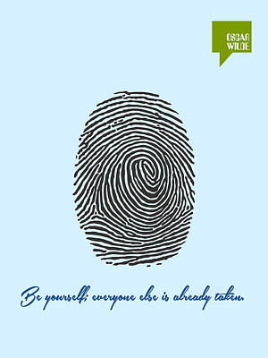 Digital Art - Be Yourself - Oscar Wilde Minimalist Quotation Poster by Celestial Images