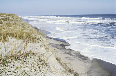 Beach And Dune Erosion, North Carolina Art Print by Larry Cameron