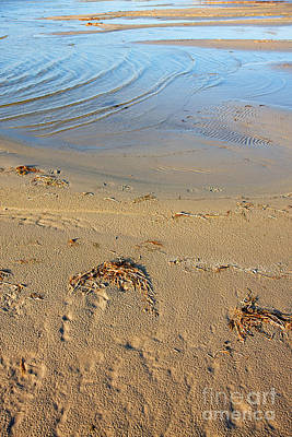 Beach And Rippled Water. Art Print by Jan Brons