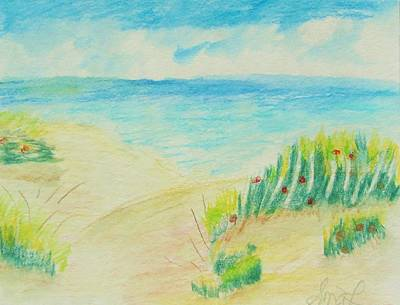 Shirley Drawing - Beach And Roses by Shirley MG Lewis