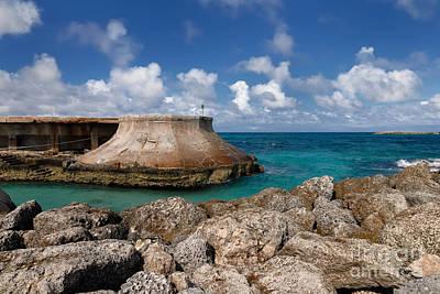 Beach And Sea Wall At Atlantis Resort Print by Amy Cicconi