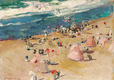 Beach At Biarritz Art Print by Joaquin Sorolla y Bastida