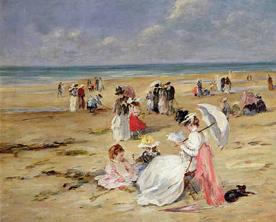 Beach At Courseulles Art Print by Henri Michel-Levy