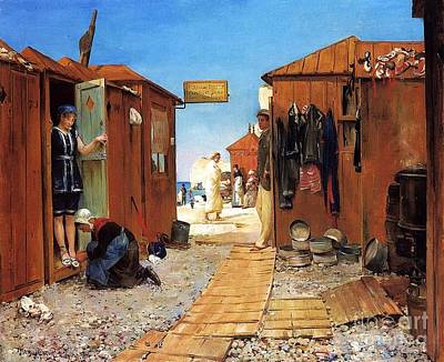 Dressing Room Painting - Beach At Etretat by Pg Reproductions