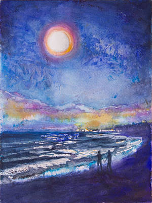 Moon Walk Painting - Beach At Night by Patricia Allingham Carlson