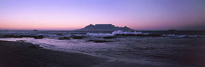 Cape Town Photograph - Beach At Sunset, Blouberg Beach, Cape by Panoramic Images