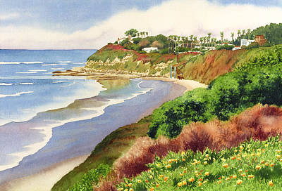 Tree-lined Painting - Beach At Swami's Encinitas by Mary Helmreich