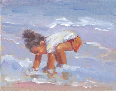 Little Girl On Beach Painting - Beach Babe by Lucelle Raad