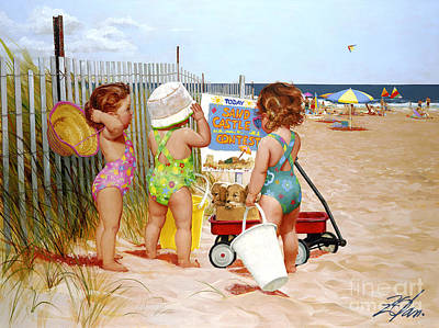 Nantucket Painting - Beach Babies by Donald Zolan