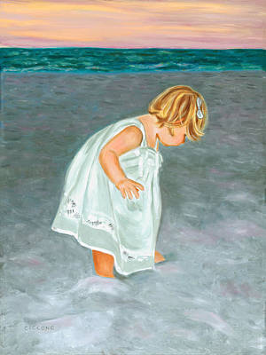 Beach Baby In White Art Print