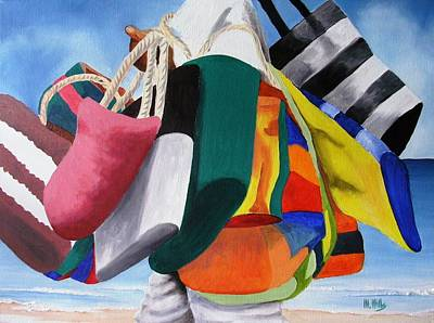 Painting - Beach Bag Vendor by Maria Mills