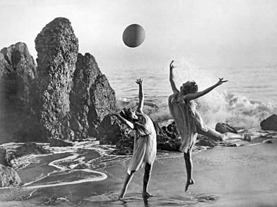 Monica Photograph - Beach Ball Dancing by Underwood Archives