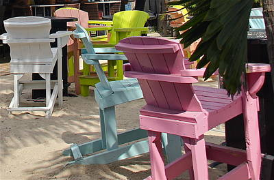 Photograph - Beach Bar Chairs by Denise Mazzocco