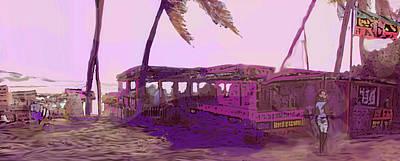 Digital Art - Beach Bar In Violet by Ian  MacDonald
