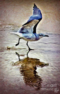 Painting - Beach Bird Lift-off by Walt Foegelle