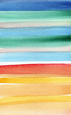 Abstract Beach Landscape Painting - Beach Blanket- Colorful Abstract Painting by Linda Woods