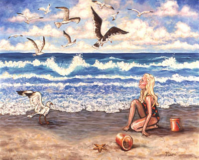Little Girl On Beach Painting - Beach Bliss by Linda Mears