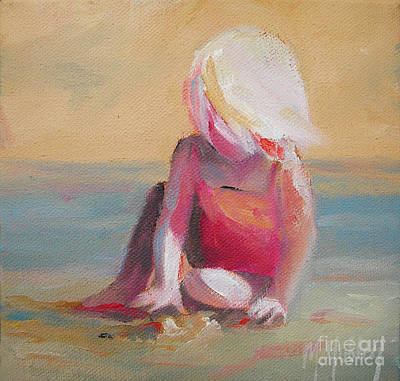 Little Girl On Beach Painting - Beach Blonde Girl In The Sand by Mary Hubley