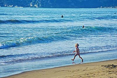 Stinson Beach California Photograph - Beach Boy In His Birthday Suit On Stinson Beach-california by Ruth Hager