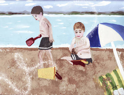 Castles In The Sand Painting - Beach Brothers by Sandra Whiting