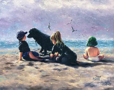 Dog On Beach Wall Art - Painting - Beach Buddies by Vickie Wade