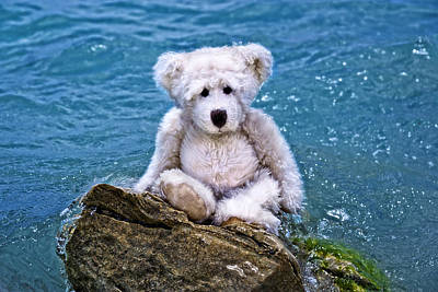 Beach Bum - Teddy Bear Art By William Patrick And Sharon Cummings Art Print by Sharon Cummings