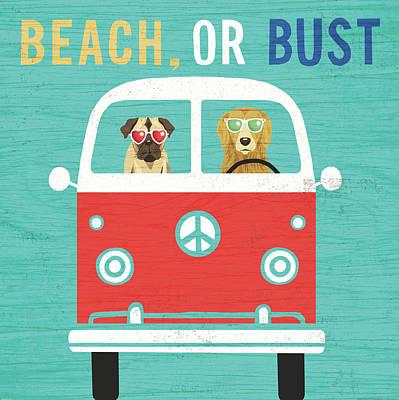 Beach Bums Bus Art Print by Michael Mullan
