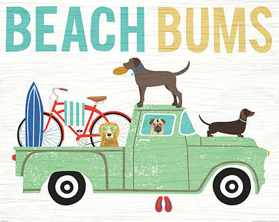 Golden Lab Painting - Beach Bums Truck I by Michael Mullan