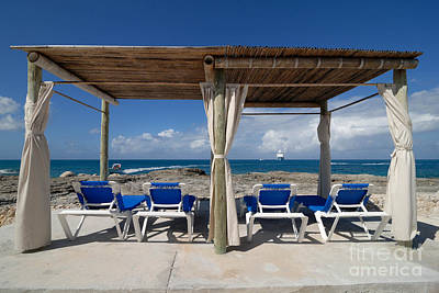 Line Photograph - Beach Cabana With Lounge Chairs by Amy Cicconi