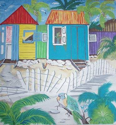 Etc. Painting - Beach Cabanas by Shirley Kelly