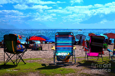 Photograph - Beach Chair Lineup by Sally Simon