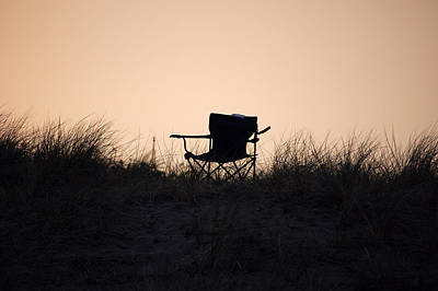 Photograph - Beach Chair Sunset by Holly Blunkall